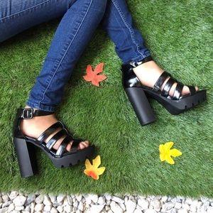Platform Patent gladiator lug sole heels
